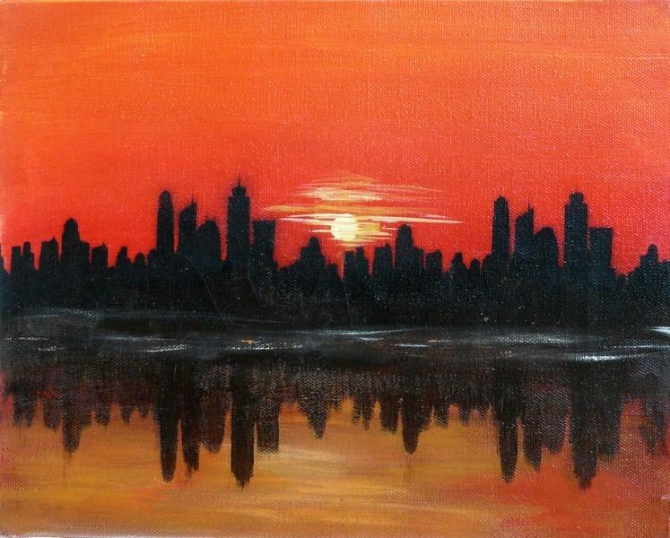 Skyline au soleil couchant 30 x 24 cm